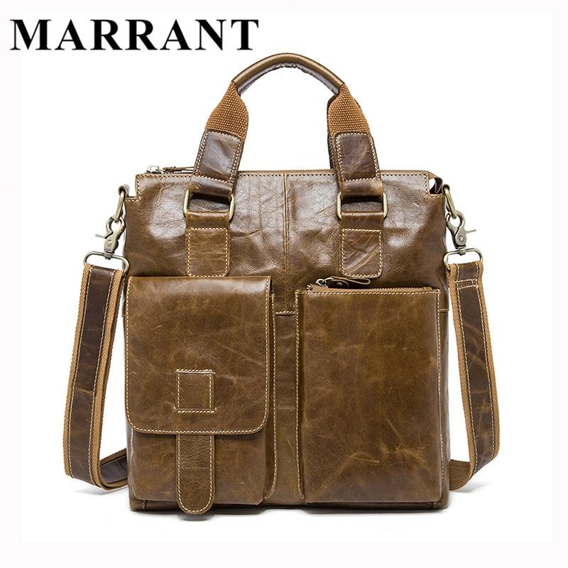 ФОТО MARRANT Genuine Leather Men Bag Briefcase Fashion Man Business Handbag Men's Messenger Bags Brand Male Shoulder bag Tote 8259