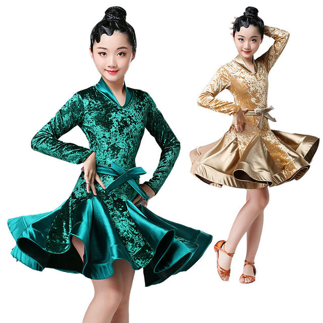 Autumn Winter latin dresses for dance ballroom dance dress rumba samba velvet children samba cha cha tango skirt standard salsa