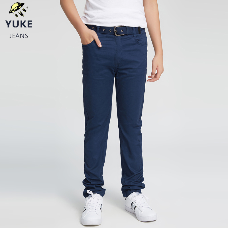 YUKE Men's casual pants Boy,pants Boy color pants Elastic band Children cotton casual pants with belt 8 15Age M13634