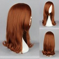 MCOSER Hot Popular Selling Fast Noble Oblique Fringe Active Brown Orange Medium Little Curly Lolita Wig