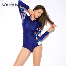 AONIHUA One Piece Womens Swimsuit Printing Padded Slim Long Sleeve Sexy Beach Women Bath Suit Surf Swimwear