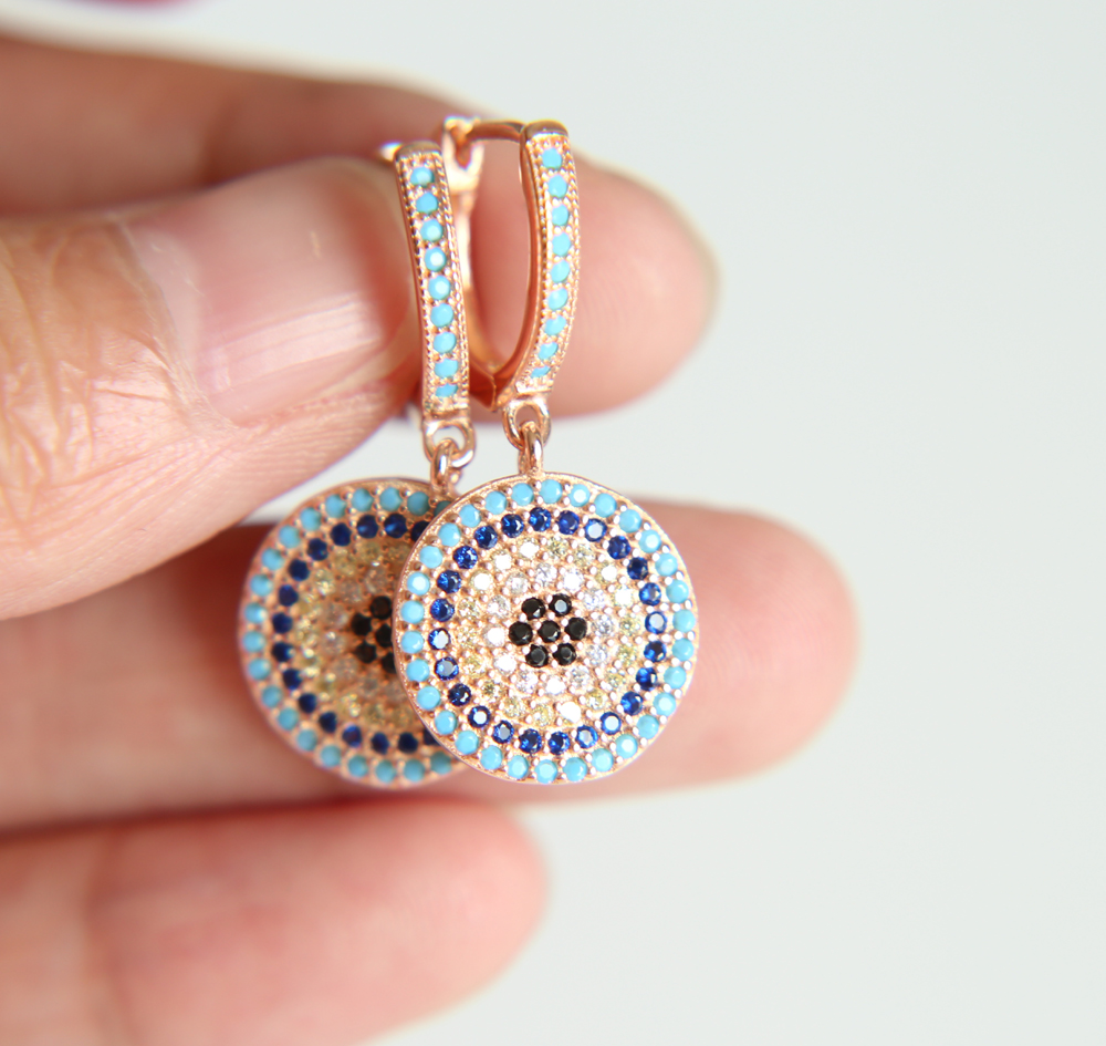 3d64176989b3 2018 Oorbellen New 925 Sterling silver Earring Fatima Round evil Eye Drop  With Mixed colorful cz Earrings Jewelry for women gift-in Drop Earrings  from ...