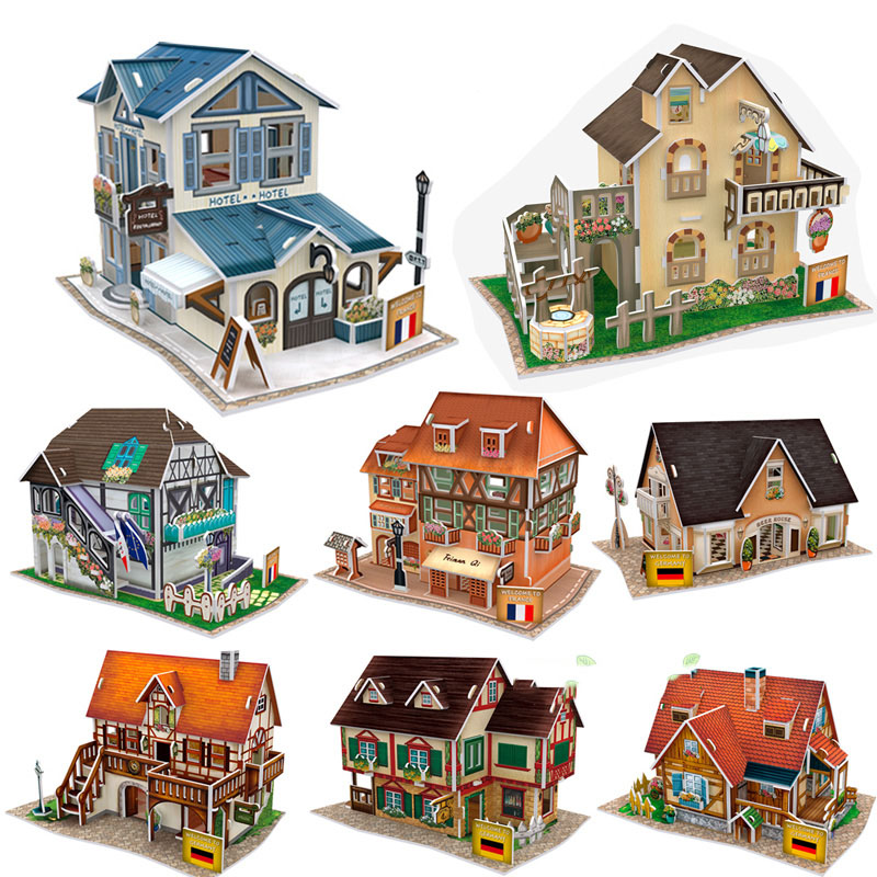 Original 3d Diy France Germany Amorous Building Grocery Store Street Flower Beerhouse Hostel Dollhouse Match Sylvanian Families Doll Houses