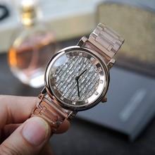 El último Estilo de Oro Rosa Reloj de Las Mujeres! de Lujo de Cristal Pulsera de Las Mujeres Mashali Reloj Femenino Vestido de las Señoras Reloj Pulsera de diamantes de Imitación
