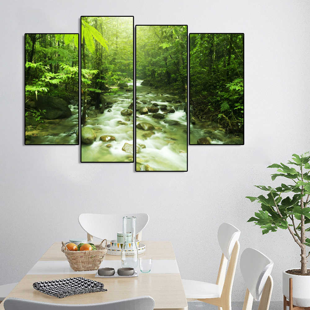 Laeacco Calligraphy Painting Canvas Spring Posters and Prints Green Forest Wall Art Pictures for Living Room Home Decoration