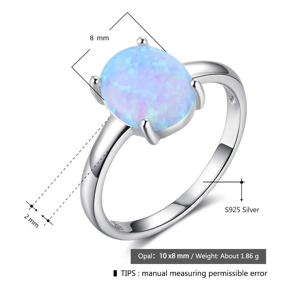 Women 925 Sterling Silver Luxury Oval White Pink Blue Opal Rings Anniversary Gifts Female Finger Ring Size 6 7 8 (Lam Hub Fong)