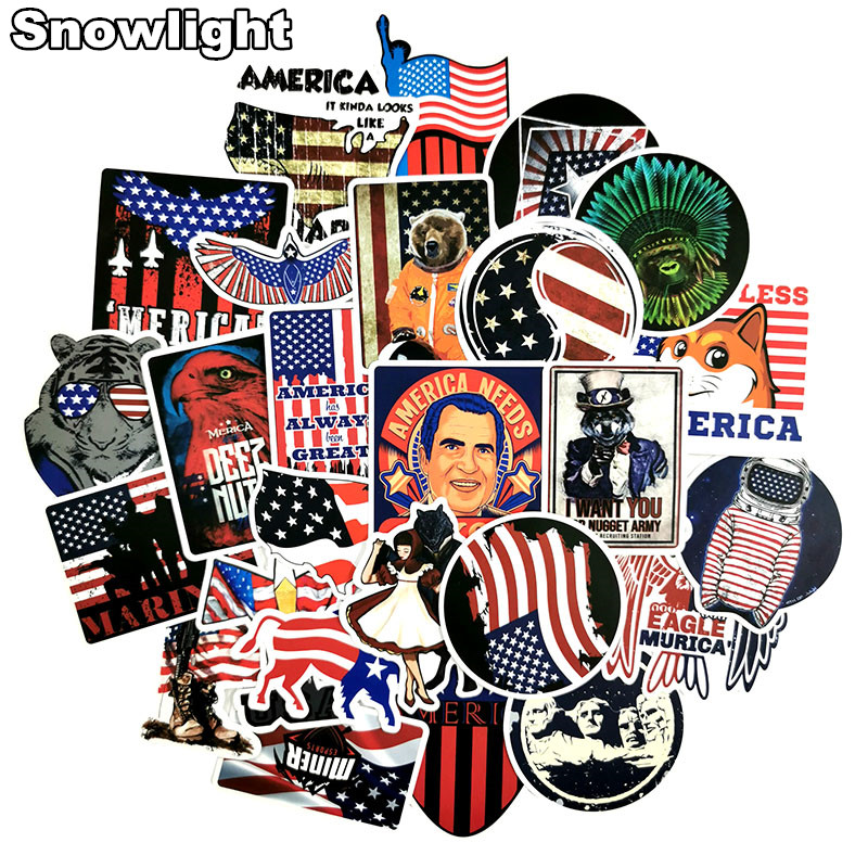 50Pcs American National Flag Style Graffiti Sticker Spoof For Laptop Luggage Bike Skateboard Phone Vinyl Decals DIY Sticker