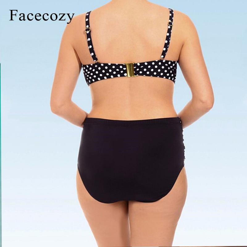 Chinesebloggie Comprar Facozy Mujeres Nuevo Bikini Set Traje De Bano Talla Grande Dot Cintura Alta Playa Conjuntos Patchwork Yardas Grandes Para Damas Online Baratos