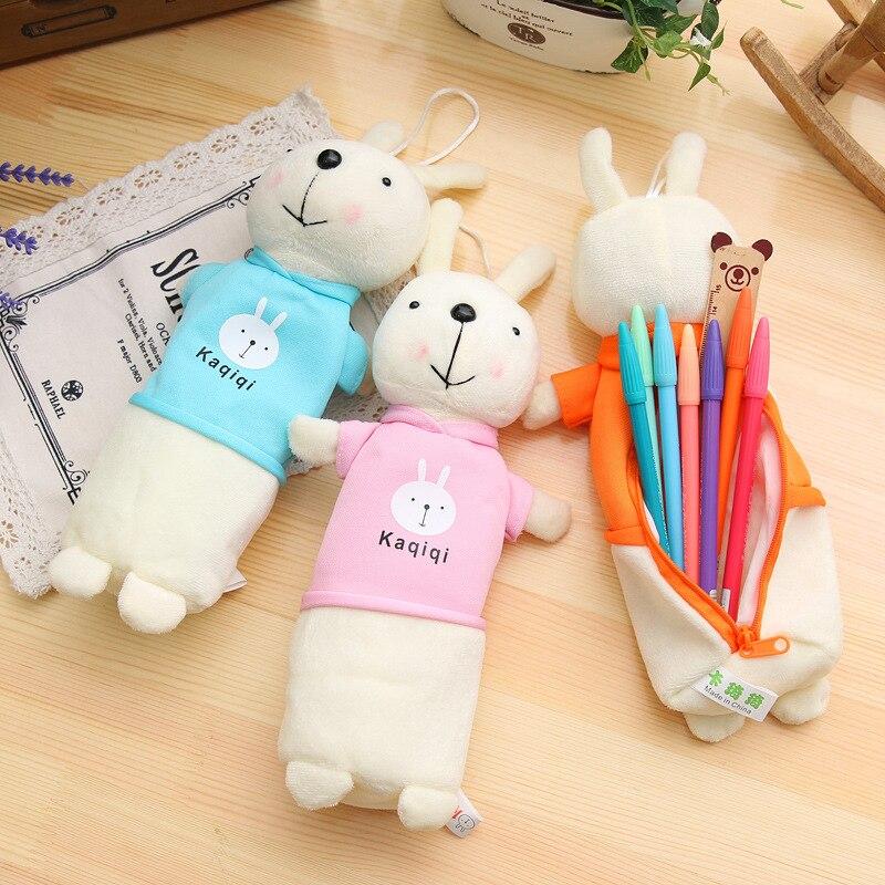 New Kawaii cartoon plush case creative pencil rabbit Beautiful bag case pencil pen bag for kids Gift school Material