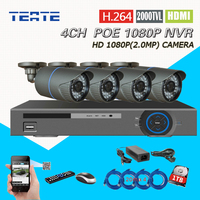 TEATE Home CCTV Kit 4CH 1080P NVR H 264 Full 1080P Real Time HD Recording POE