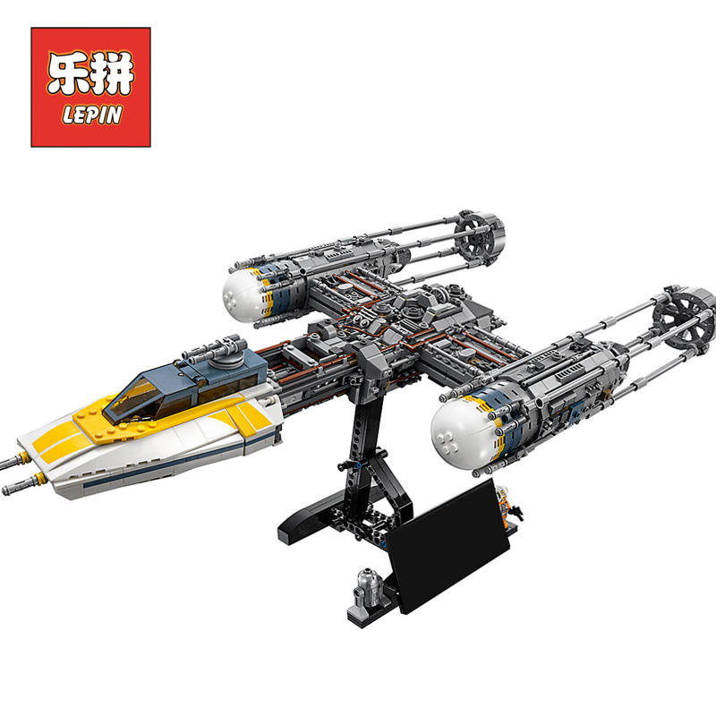 Hot Lepin 05040 Star Plan Wars Y Star wing Attack Fighter Building Blocks Bricks Educational DIY Toy Gift Compatible 10134 hot wheels модель звездного корабля y wing fighter gold leader cgw52 cgw53