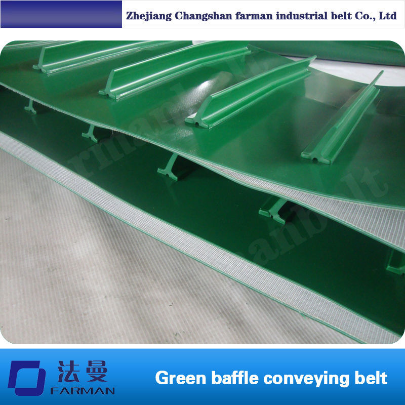 Farman Baffle plates PVC the conveyor belt surface grass pattern rough surface green pvc skid conveyor belts
