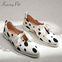 Krazing pot/милые вечерние свадебные туфли на шнуровке с бантом из конского волоса; милые женские туфли-лодочки на толстом низком каблуке с круглым носком; сезон весна; L01