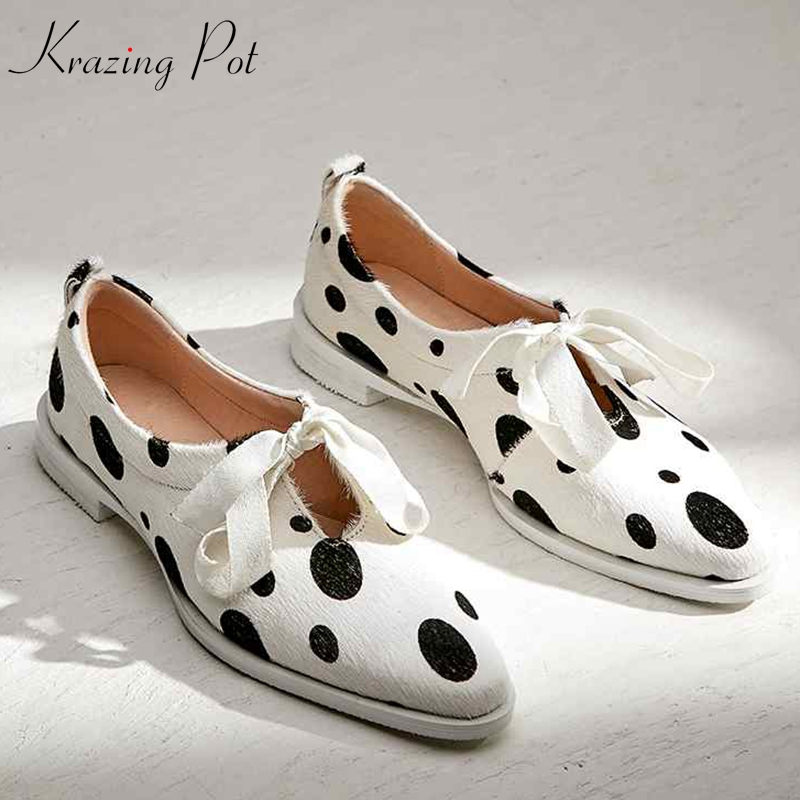 Krazing Pot Horsehair Bowtie Shallow Sweet Lace Up Party Spring Wedding Shoes Sweety Round Toe Women Thick Low Heels Pumps L01