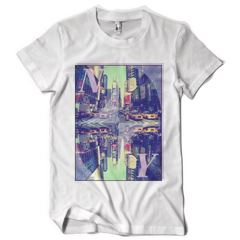 NY TEE upside down world new york taki cab gangster fight dtg mens t shirt tee