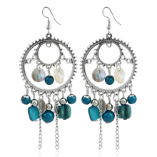 ФОТО new bride jewelry hollow natural shell dangle earrings retro vintage tassel statement earrings  for women
