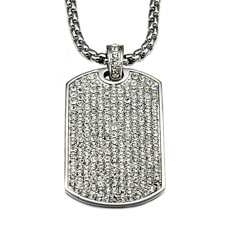 HIP Hop Full Rhinestone Iced Out Bling Gold Color Square Dog Tag Necklaces Pendant For Men Jewelry Bead Chains Dropshipping in Pendant Necklaces from Jewelry Accessories