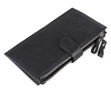Nesitu High Quality Coffee / Black Long Vintage 100% Real Genuine Leather Women Men Wallets Cowhide Card Holder #M8057