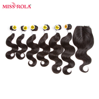 Miss Rola Hair Pre Colored 1B Natural Black Color Brazilian Hair 6 Bundles With Top Closure
