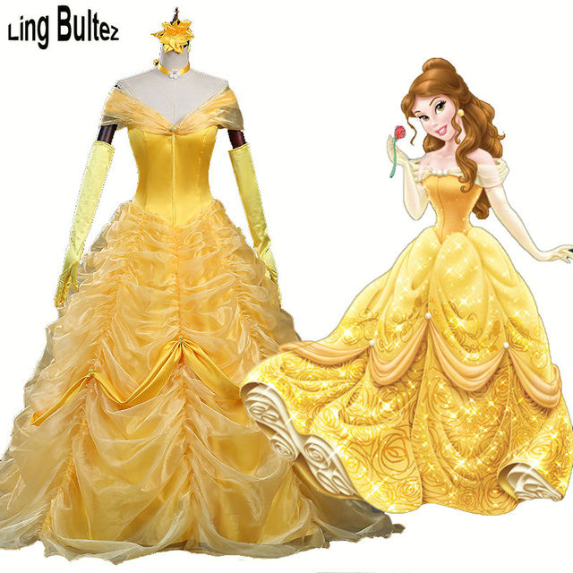 Ling Bultez New Princess Belle Cosplay Dress Beauty And The Beast