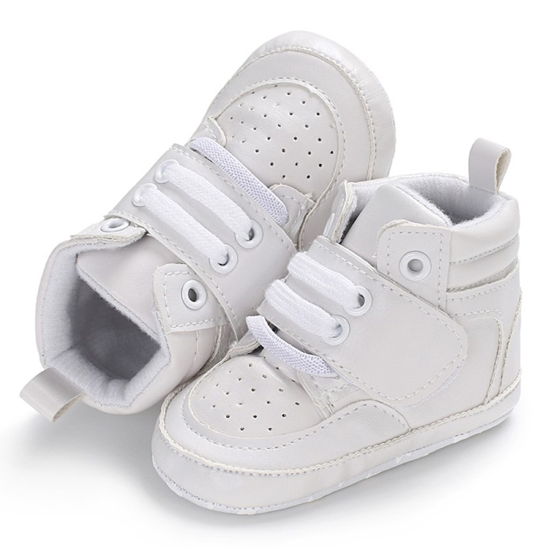 Newborn Kids Sneakers Baby Boys Shoes High Top Solid Soft Sole First Walkers Infant Toddler Antislip Prewalker Crib Footwea