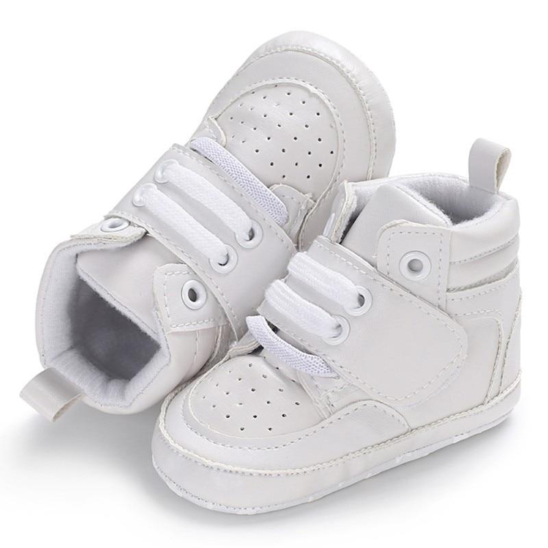Newborn Kids Sneakers Baby Boys Shoes High Top Solid Soft Sole First Walkers Infant Toddler Antislip Prewalker Crib Footwear
