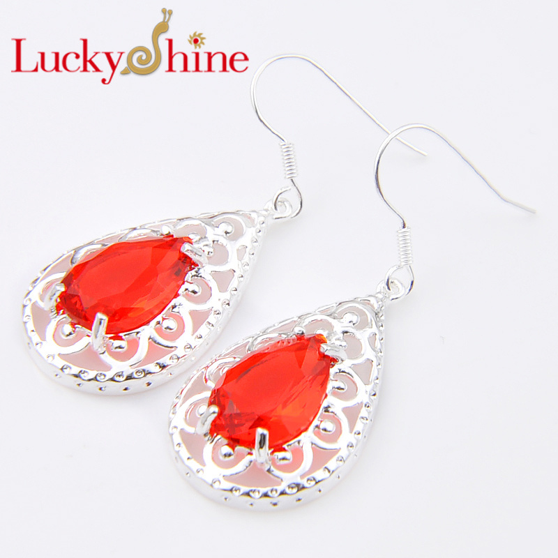Promotion Luckyshine Drop Red Created Quartz Silver Pated Holiday Wedding Dangle Earrings Russia USA Australia Earrings