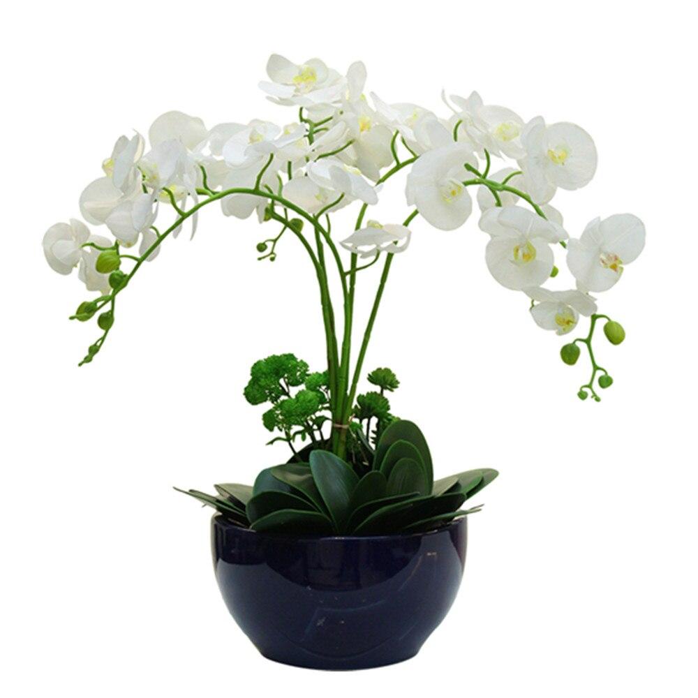 Witte bloemschikking Orchidee met bladeren Real Touch bloemboeket - Feestversiering en feestartikelen