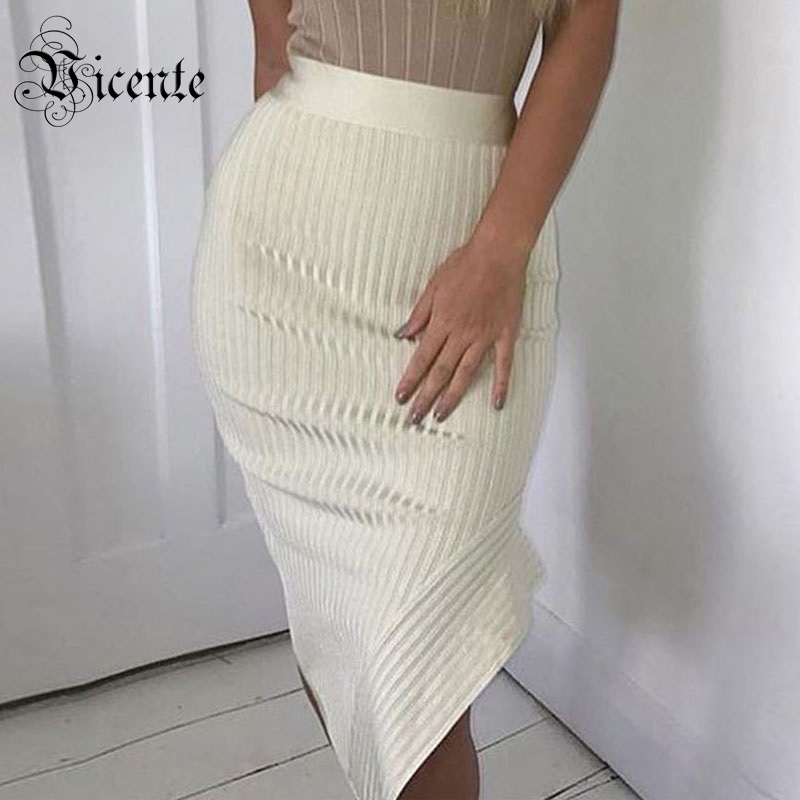 Free Shipping!2018 New Must Have High Quality Elegant White Side Edge Cut Design Celebrity Party Bandage Pencil Skirt