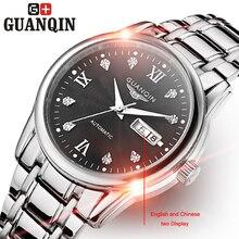 Бренд GUANQIN Мужские часы роскошные автоподзаводом автоматические механические часы мужчины бизнес Сапфир эркек коль saati старинные