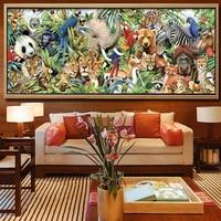 New 5D DIY Diamond Painting Zoo Animals Embroidery Full Square Diamond Cross Stitch Rhinestone Mosaic Painting