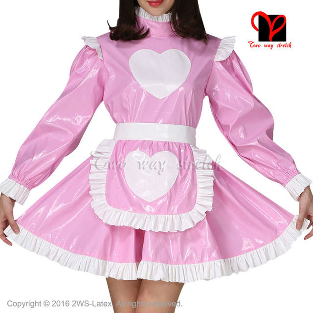 Sexy Pink and White Rubber dress and white Latex apron Waitress baby ...