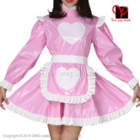 Sexy Pink and White Rubber dress and white Latex apron Waitress baby doll frilles Latex Maid uniform long sleeves QZ 081