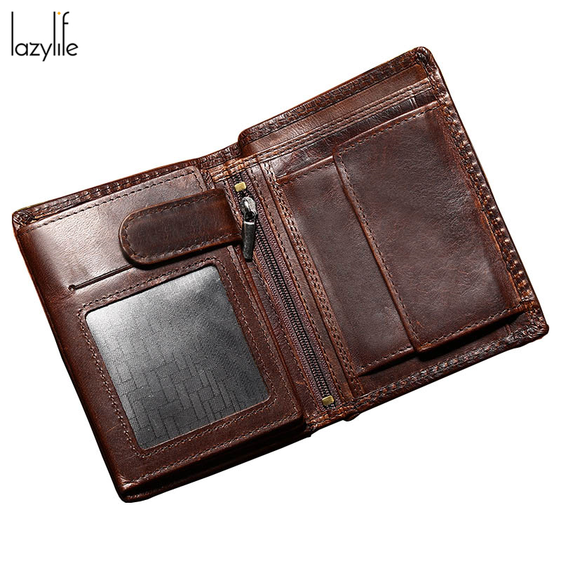 LAZLIFE High Quality Brand Designer Genuine Crazy Horse Cowhide Leather Men Wallet Short Coin Purse Small Vintage Wallet 2017 genuine cowhide leather brand women wallet short design lady small coin purse mini clutch cartera high quality