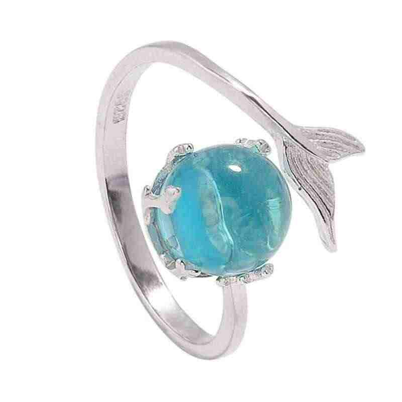 Ruifan, gran oferta, anillos de burbuja de sirena de cristal azul para mujeres, niñas, regalo, joyería de moda, anillo abierto Ajustable YRI044