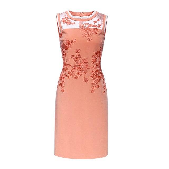 European Boutique Vestido Womens Embroidery Lace Inset Slim Elegant Wedding Party Dress