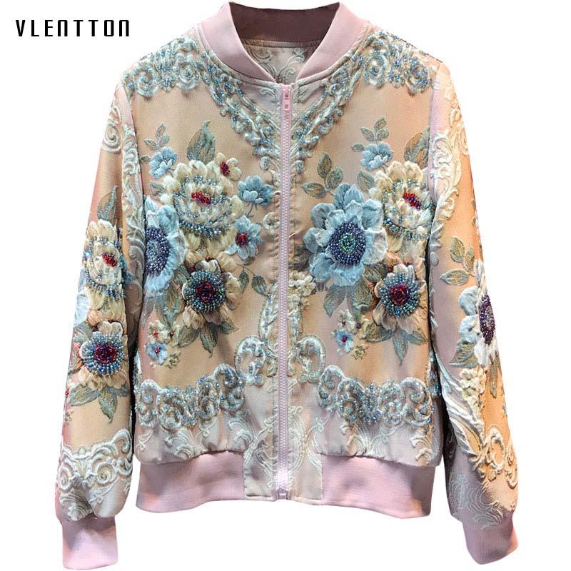 Дизайнерские роскошные розовые тонкие женские куртки, пальто, элегантная женская куртка бомбер с цветочным принтом и бисером, верхняя одеж