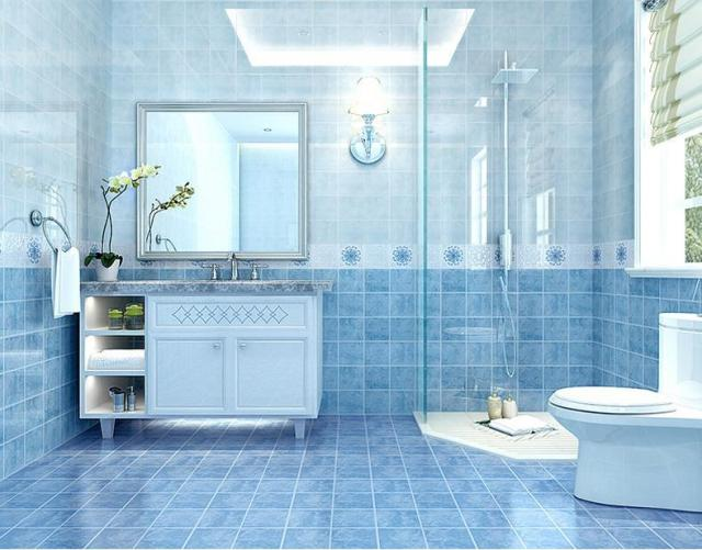 5d Ink Jet Small Floor Interior Wall Tiles Shower Room Toilet Kitchen Porcelain Matching Ceramic Tile Blue Mediterranean