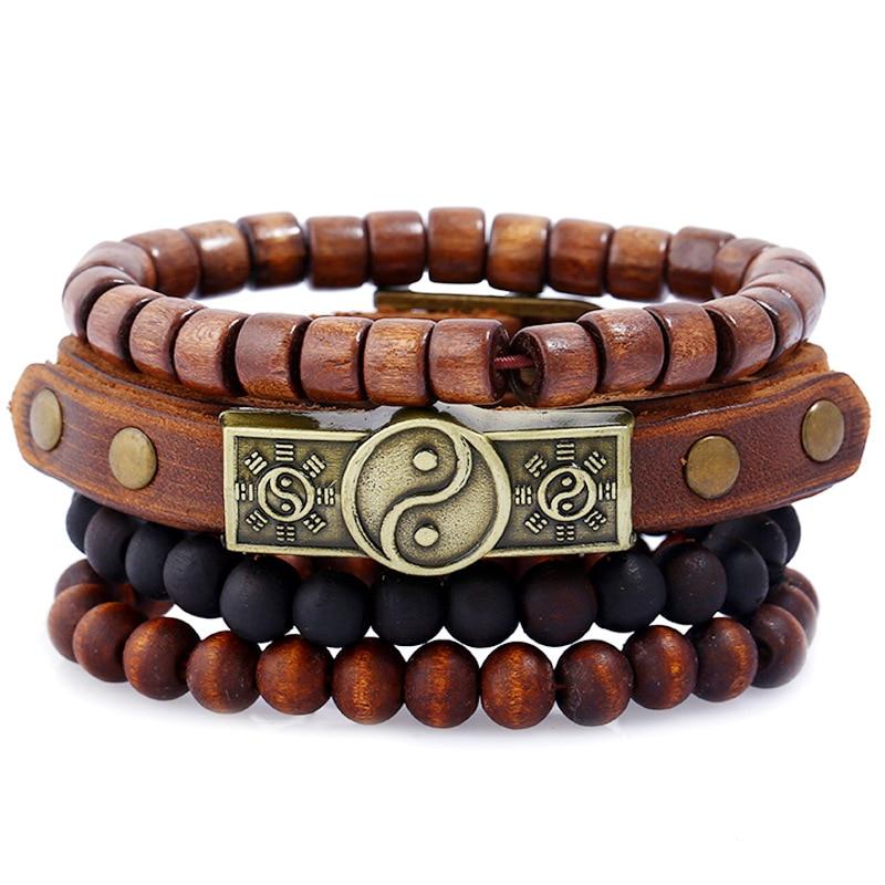 4 PCS/Set Tai Chi Wood beads Leather Bracelet Set for Man Woman Wristband Hand Jewelry Gift Drop shipping