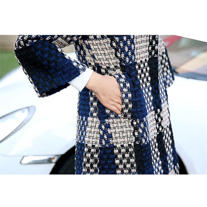 Femme 2018 Manteau Feminino Treillis De Épaissir Automne Hiver Casaco Chaud Femmes Pardessus Laine Grande Vêtements Taille Veste Lj292 qC71qw