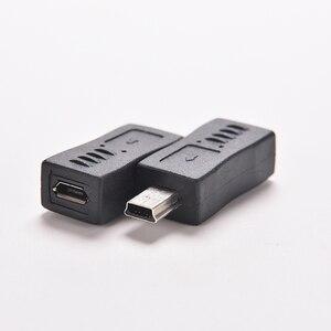 Image 1 - 1PC Schwarz Micro/Mini 4 Typ Gerade/L Form USB Weiblichen zu Mini/Micro USB Männlich adapter Ladegerät Stecker Konverter Adapter