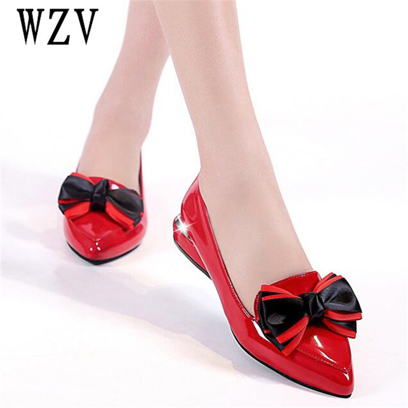 Plus size35-43 New 2018 Pointed Toe Low Heel Pumps Black Red Shallow Mouth 1.5cm Thick High Heel Shoes Solid OL women shoes E084 [328] women autumn fashion shoes pu skin shallow low heeled shoes with high heel pointed shoes for ol lss 888
