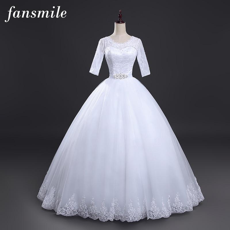 Fansmile Free Shipping Vestido De Noiva Lace Ball Wedding Dress 2019 Plus Size Bridal Wedding Gowns Robe De Mariage FSM-013F