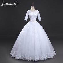 Fansmile Vestido de Noiva кружевное бальное свадебное платье размера плюс свадебные платья Robe de Mariage FSM-013F