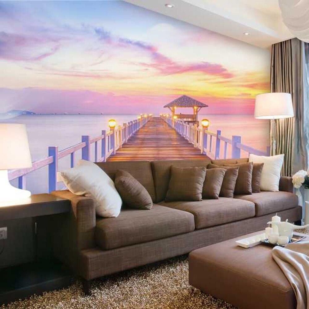 Красочные Pier Гостиная фоне 3D росписи обоев Фотообоев 3d PAPEL де сравнению PW1500205361