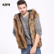 48a7c91d25c Idopy Men s Faux Fur Vest With Hood Winter Thermal Warm Outerwear Waistcoat