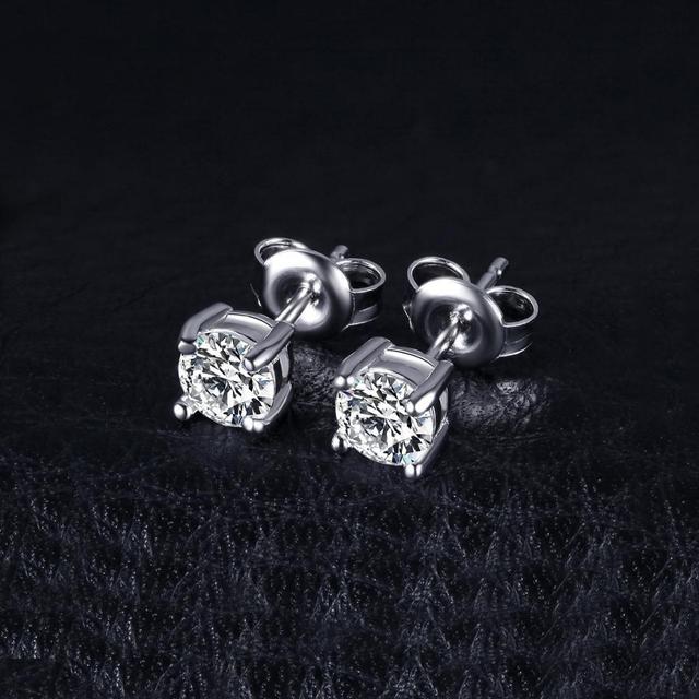 Round Diamond CZ 925 Sterling Silver Stud Earrings