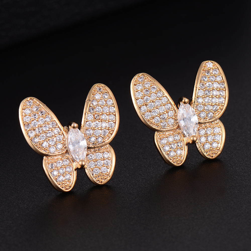 SisCathy Top Quality Prevent allergy Jewelry Butterfly Stud Earrings Paved Full Cubic Zirconia Charm Women Girl Earrings Gifts in Stud Earrings from Jewelry Accessories