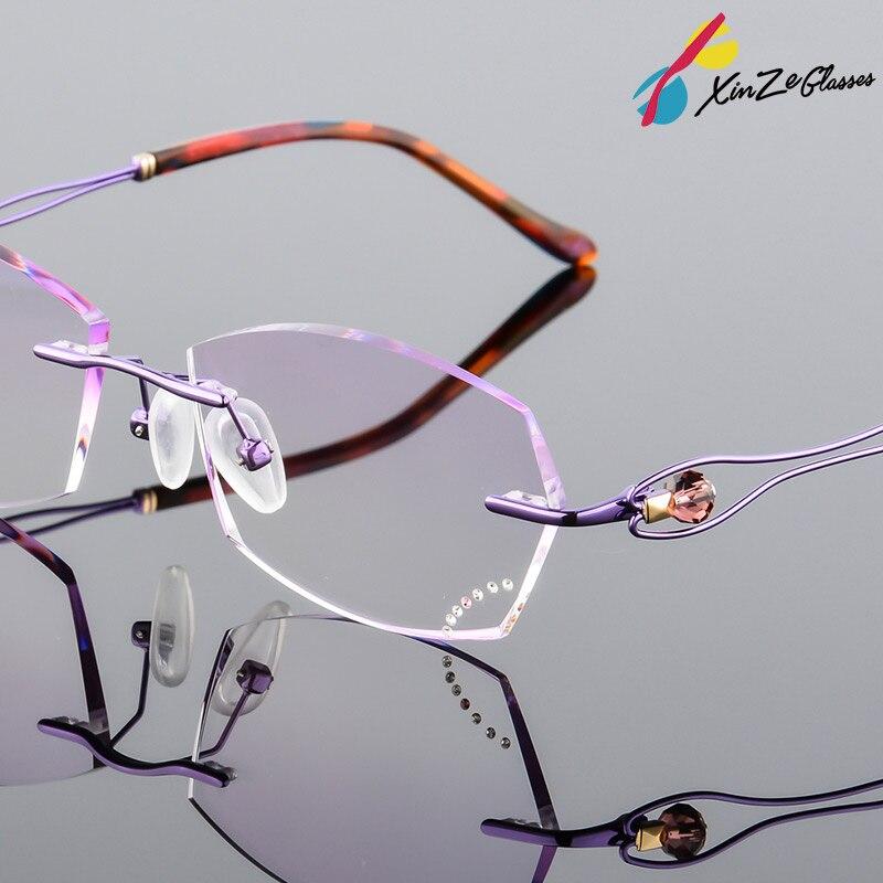 e02c50c15c Aliexpress.com   Buy XINZE Fashion Eyeglasses 6812 Diamond Trimming Cutting  Rimless Eyeglasses Prescription Optical Glasses Frame for Women Eyewear  from ...