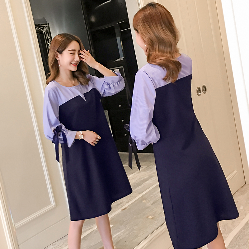2018 Spring Maternity Clothing Preppy Style Pregnancy Dress Fashion Long Sleeve Maternity Clothes For Pregnant Women